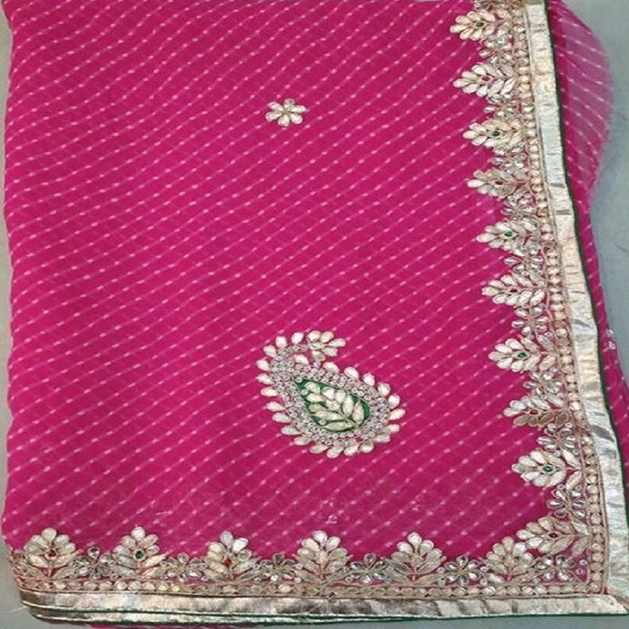 Dark Pink Lahariya gota patti work saree,gota patti saree price,gota patti saree best price in india