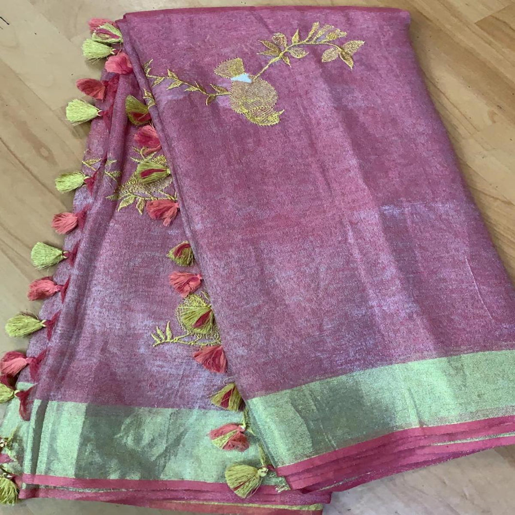 Buy Darkgreen Linen Tissue Embroidered  Saree