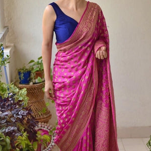 Darkpink Heavy Banarasi Saree
