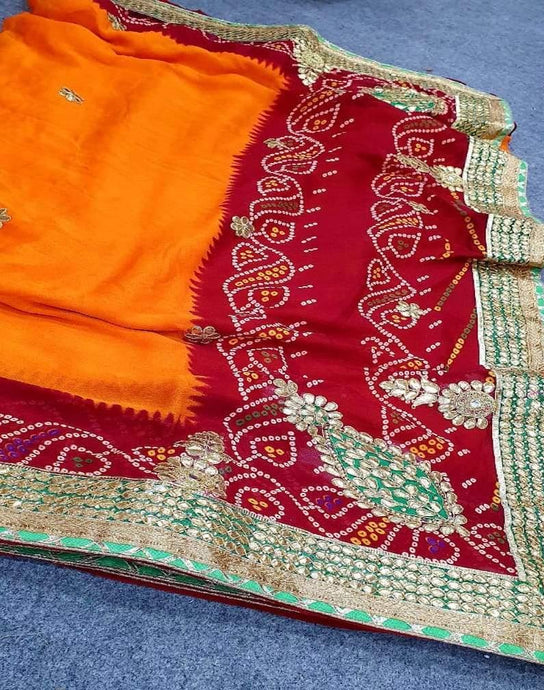 Buy  Bandhej Pure Georgette Saree with Gota Work In Mehroon Orange  Color  at Best Price In India,With Free Shipping & Cash On Delivery Service.Must Explore our saree collection
