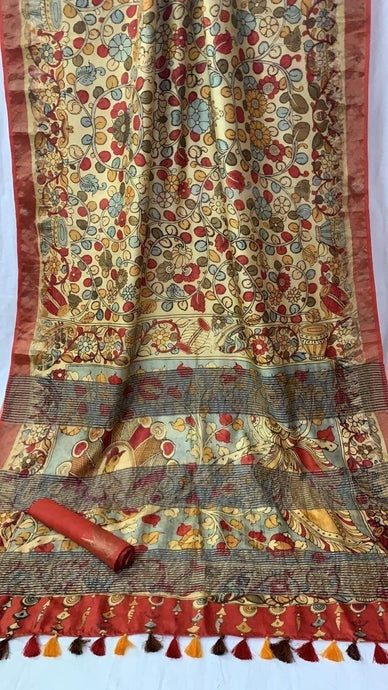 Cream Color Digital Print Tussar Silk Saree ,Tussar Silk Saree Online, Printed Tussar Saree