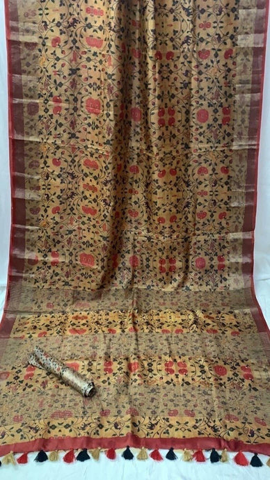 Digital Print Tussar Silk Saree ,Tussar Silk Saree Online, Printed Tussar Saree