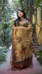 Linen Saree Digital Print In Brown,Linen Sarees Online