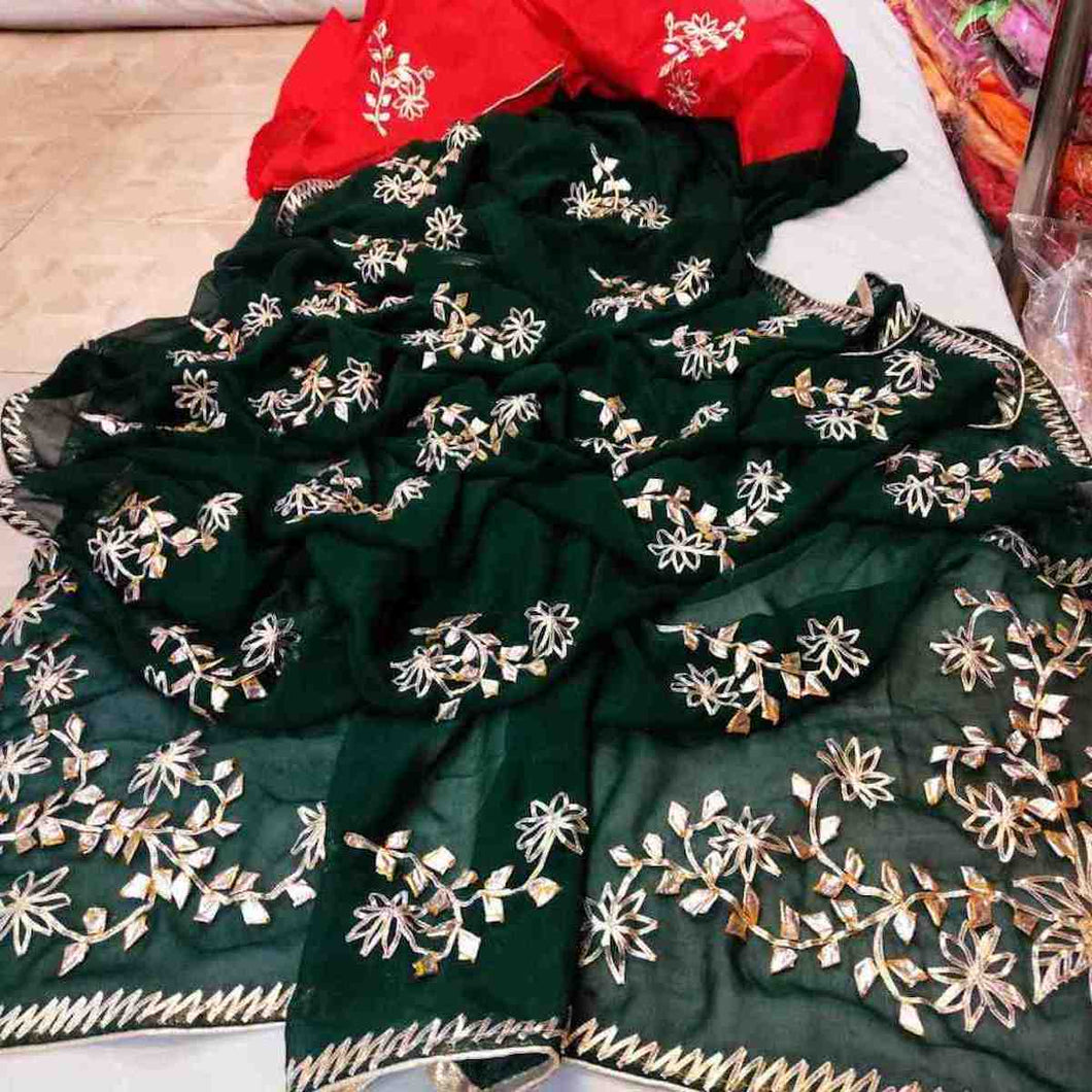 Emerald gota patti jaal work saree