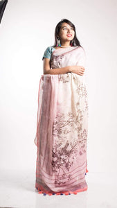 Floral Digital Print Linen Saree In Babypink, Embroidered Linen Sarees Online,Digital Floral Print Sarees