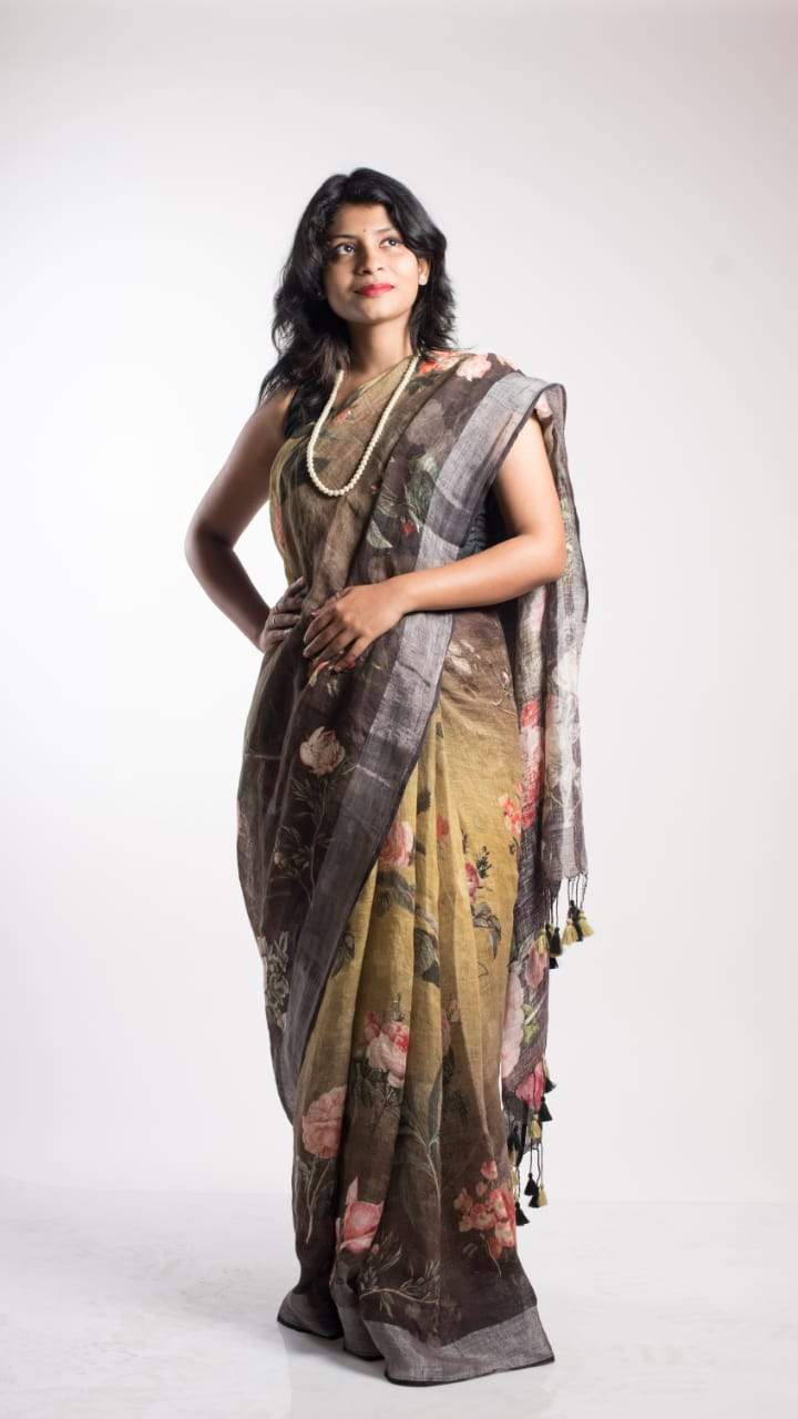 Floral Digital Print Linen Saree In Black-Olive, Pure Linen By Linen Sarees,Embroidered Linen Sarees Online,Digital Floral Print Sarees