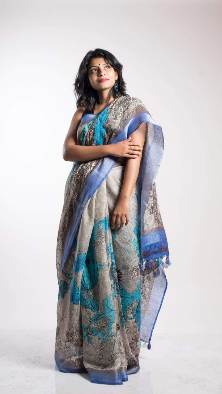 Floral Digital Print Linen Saree In Greyblue, Pure Linen By Linen Sarees,Embroidered Linen Sarees Online,Digital Floral Print Sarees