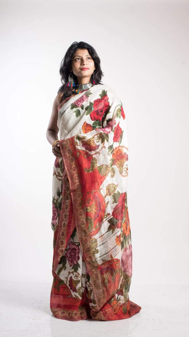 Floral Digital Print Linen Saree In Off White, Embroidered Linen Sarees Online,Digital Floral Print Sarees