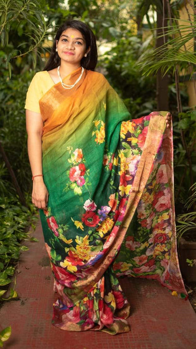 Floral Digital Print Linen Saree In Yellow Green Color, Embroidered Linen Sarees Online,Digital Floral Print Sarees