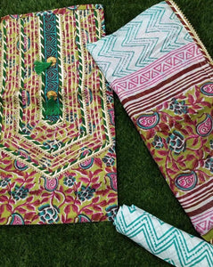 Floral Jaipur Gota Block Printed Salwar Suits ,Traditional Salwar Suits,Casual Salwar Suits, Gota patti suits, Office Wear Casual Salwar Suits Jaipuri Gota Suits
