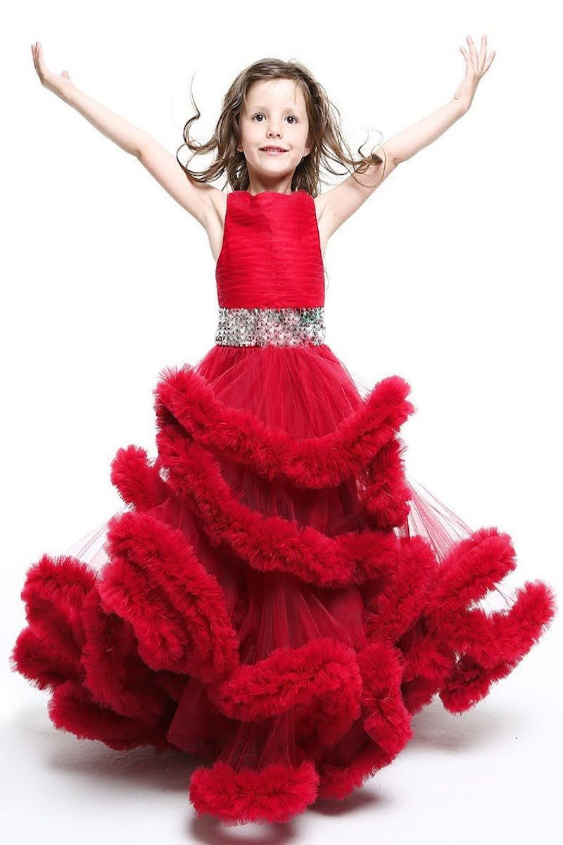 Red Party Wear Long Dress For Girls