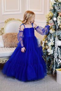 Frill long Gown For Baby Birthday In Blue Color
