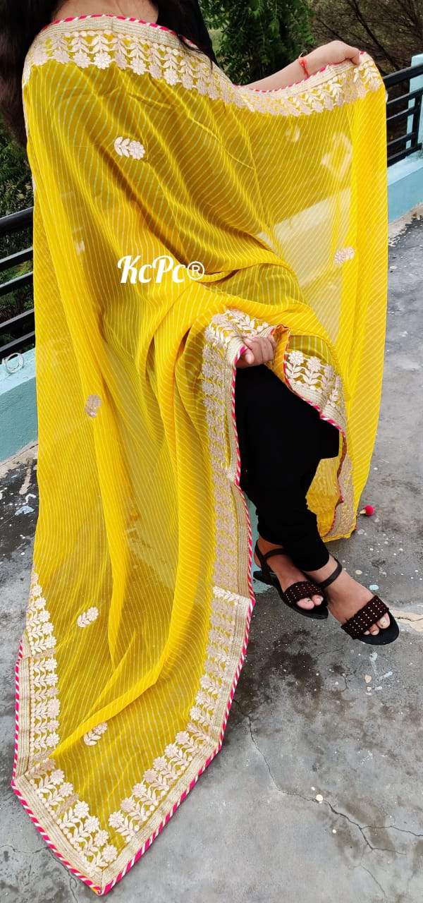 Georgette Mothda Leheriya Dupatta In Yellow ,Mothda Dupatta, Georgette Dupattas Online