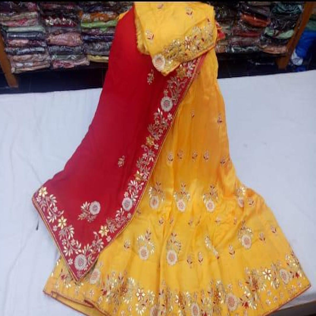 Gota Patti Lehenga In Yellow With Red Dupatta
