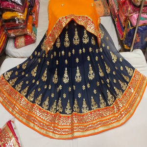 Gota Patti Lehenga In Blue With Orange Dupatta,gota patti ka lehenga,Lehenga Online,Discounted lehenga