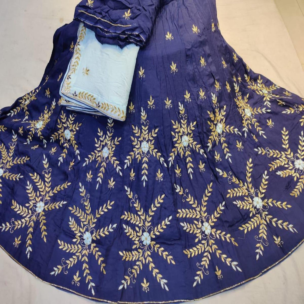 Gota Patti Lehenga In Darkblue With Skyblue Dupatta,gota patti lehenga with price,rajasthani gota patti lehenga