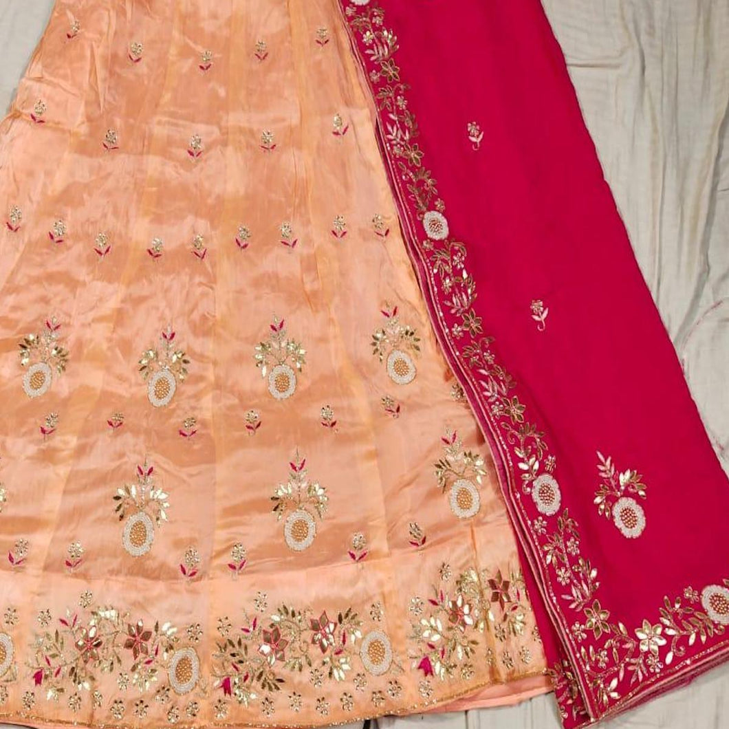 Gota Patti Lehenga In Peach With Red Dupatta,Latest Gota Patti lehenga, lehengas from Jaipur,Bridal Gota Lehenga