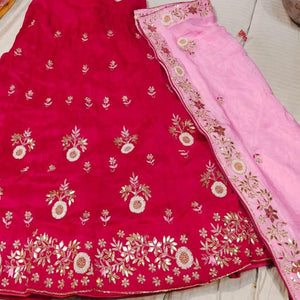 Gota Patti Lehenga In Red With Lightpink Dupatta,gota patti ka lehenga,Lehenga Online,Discounted lehenga
