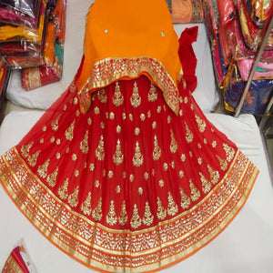 Gota Patti Lehenga In Red With Orange Dupatta,Discounted lehenga,Lehenga On Sale,Gota Patti Lehenga Bridal,