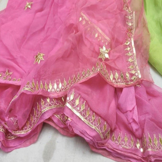 Babypink saree with gota patti work