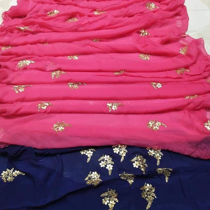 Pink saree with gota patti work
