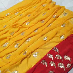 Yellow saree with gota patti work