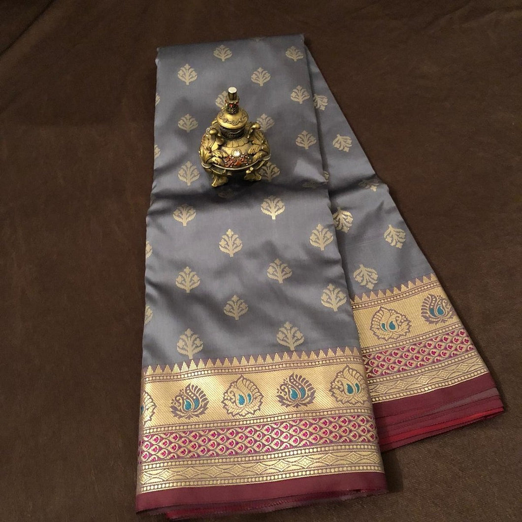 Gray banarasee silk saree,Banarasee silk saree, Bengali saree, Pujo saree