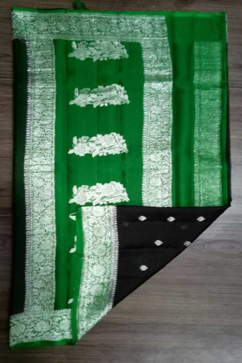 Green And Black Banarasi khaddi chiffon saree, Khaddi chiffon saree online, Pure khaddi chiffon saree