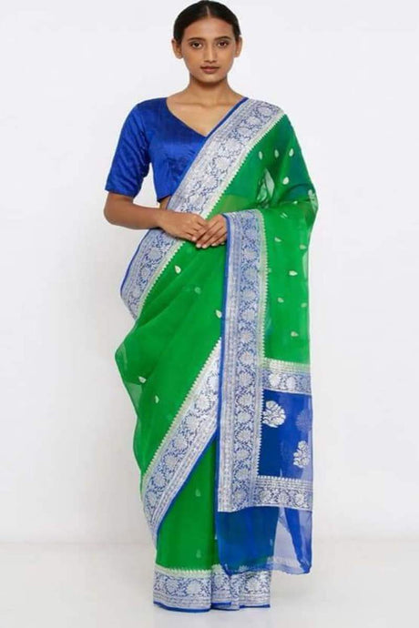 Green And Blue Banarsee Khaddi Chiffon Saree, Khaddi chiffon saree online, Pure khaddi chiffon saree
