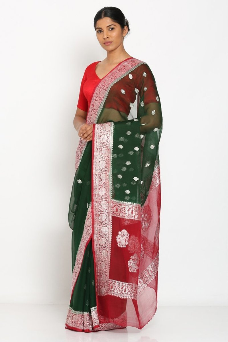 Green And Red Banarsee Khaddi Chiffon Saree, Khaddi chiffon saree online, Pure khaddi chiffon saree