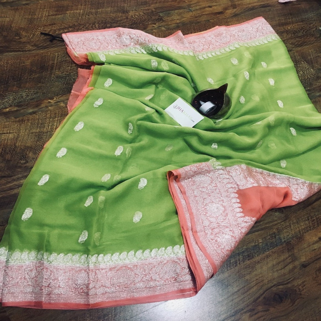 Green And Peach Banarasi Khaddi Georgette Saree,  Pure Khaddi Georgette Sarees, Pure banarasi saree online