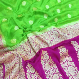 Green And Pink Semi Banarasi Khaddi Saree