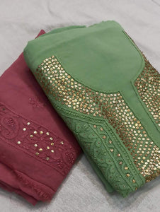 Chikankai Gota Salwar Suit Green & Wine Color, Chikankari Unstitched Suits