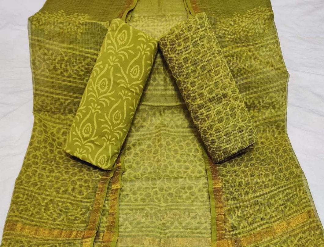 Green Bagru Kota Doria salwar suit, Bagru print salwar suits online, Office wear Salwar suits