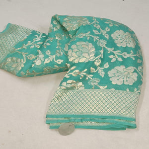 Green Banarasi Saree With Flower Jaal