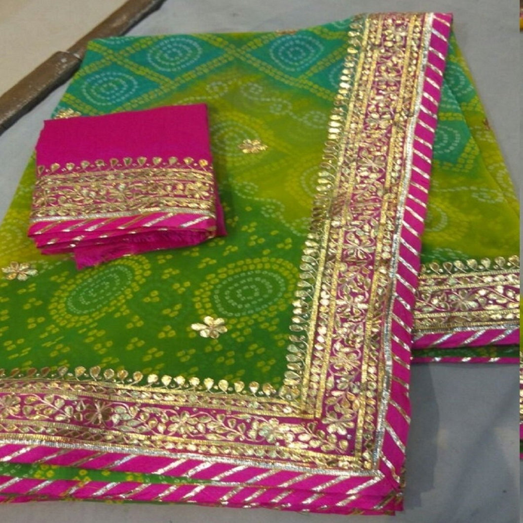Green Bandej Saree With Heavy Gota Patti Work,Gota Work Saree,Gota Work Saree Online Rates