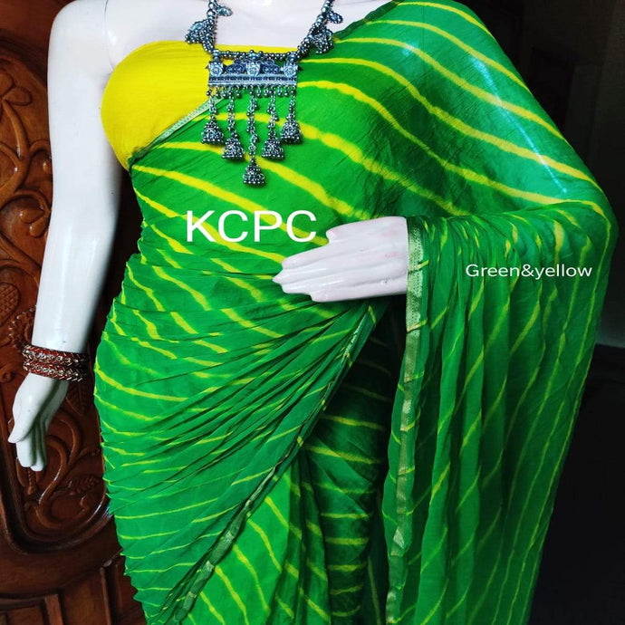 Green Chiffon Lehriya Saree ,chiffon sarees wholesale in rajasthan