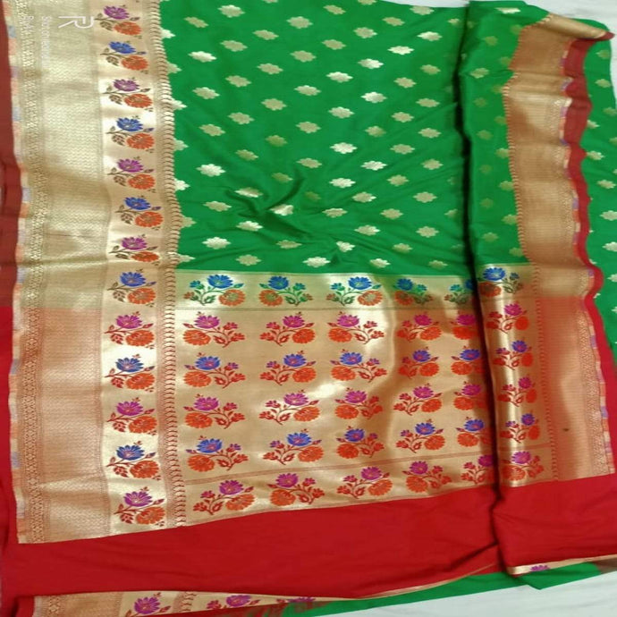 Green Katan Silk Banarasi Saree,Traditional Sarees, Banarasi Saree, Katan Silk Banarasi saree, Banarasi Handloom Saree
