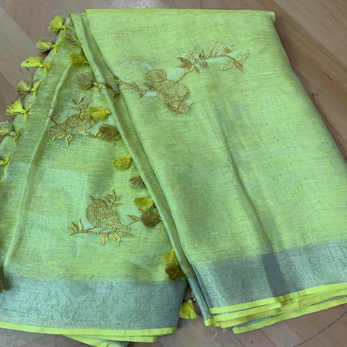 Buy Grey Linen Tissue Embroidered Saree