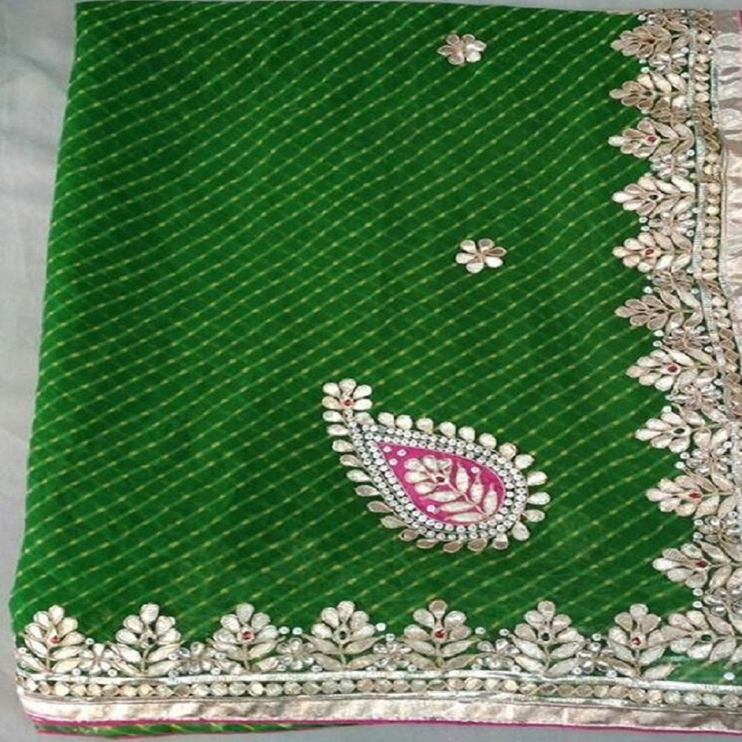 Green Mothra gota patti work saree,gota patti saree price,gota patti saree best price in india