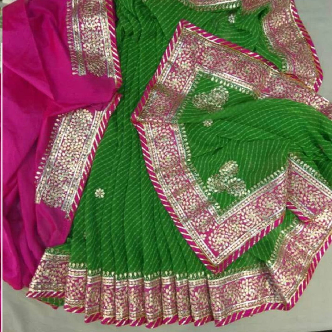 Green Saree With Designer Gota Patti Work,Gota Patti Saree Online, Gota Patti Saree Dikhaiye