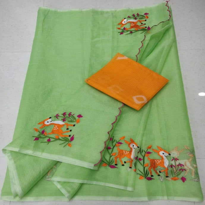 Green and orange kota embroidery, Kota cotton sarees online, kota cotton saree