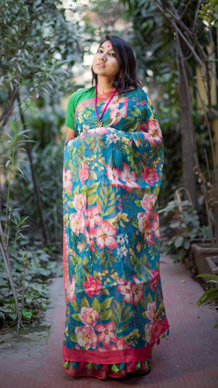 Pure Linen Saree In Pink Green Color,Floral Linen Sarees