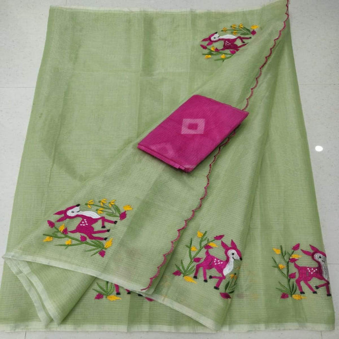 Green and pink kota embroidered saree, Kota cotton sarees online, kota cotton saree