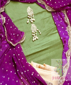 Green And Purple Silk Salwar Suit