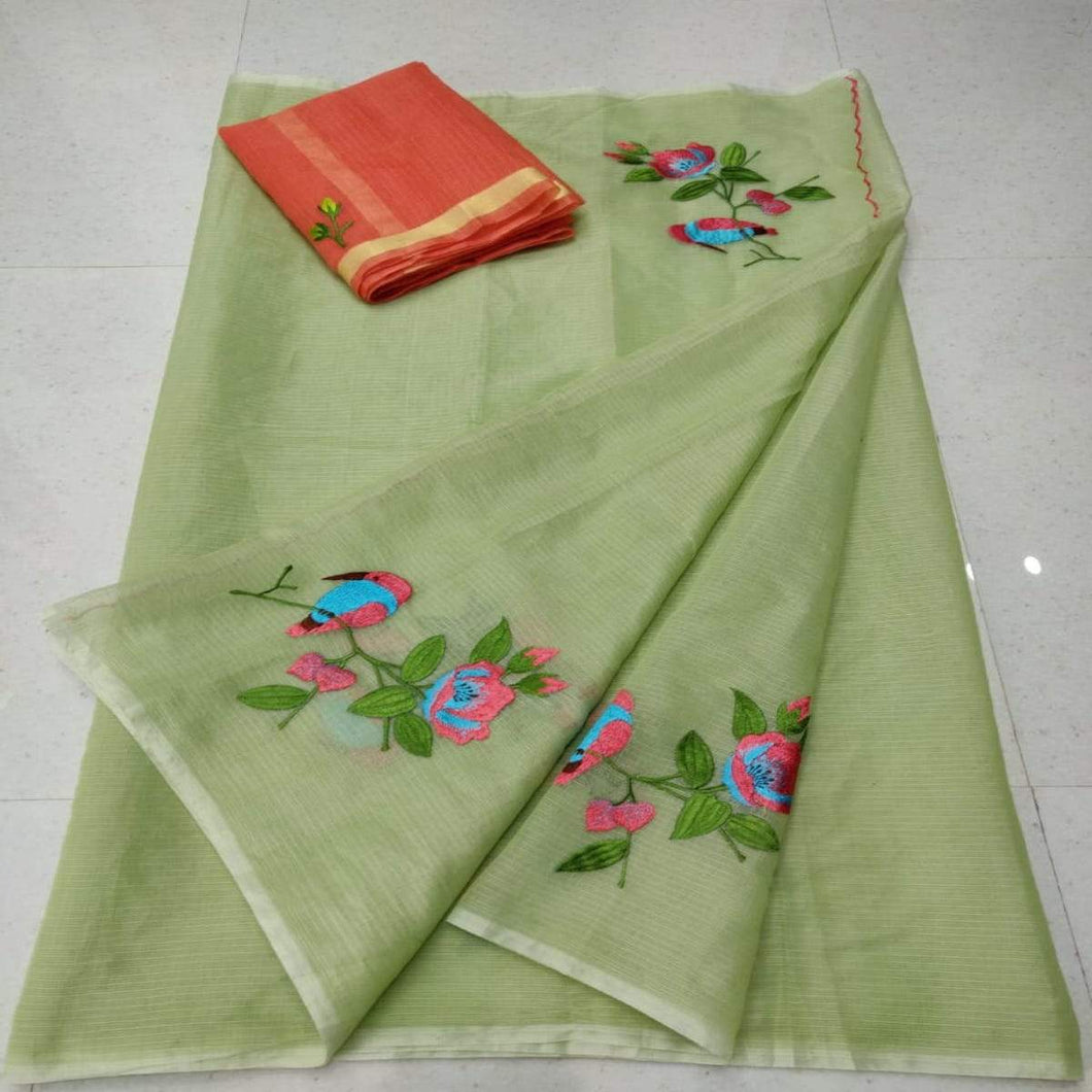 Green color kota embroidered saree, pure kota embroidery sarees, Kota sarees in jaipur