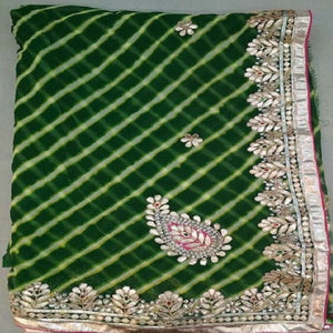 Green lahariya gota patti work saree,gota patti saree wholesale surat,gota patti saree design