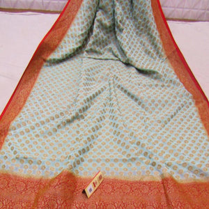 Grey And Red Heavy Banarasi Saree