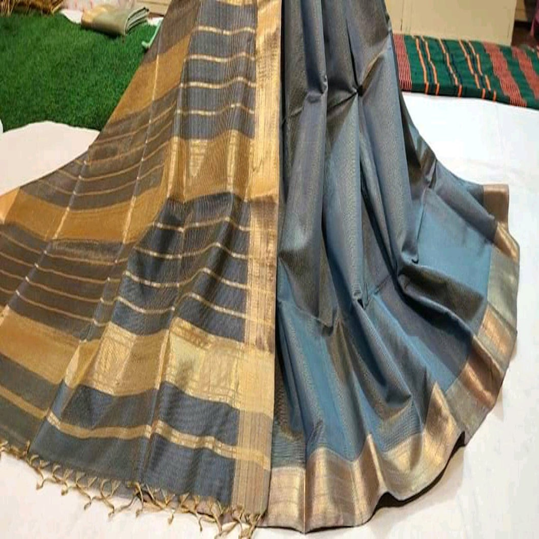 Grey Maheshwari Saree With Zari, Maheshwari sarees in pune, Pure maheshwari saree online