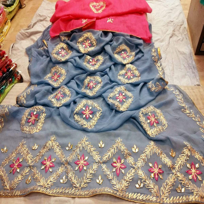 Jaipuri gota patti saree in grey and pink